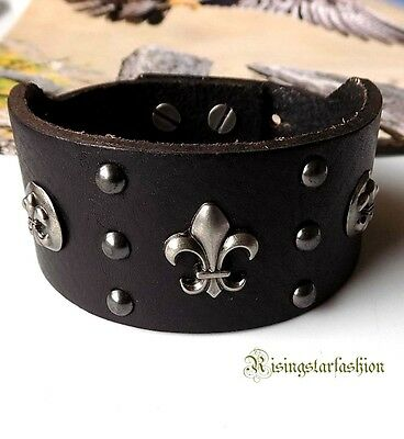 Men Cool Fleur De Lis Hip Hop Biker Surfer Leather Fashion Bracelet Wristband