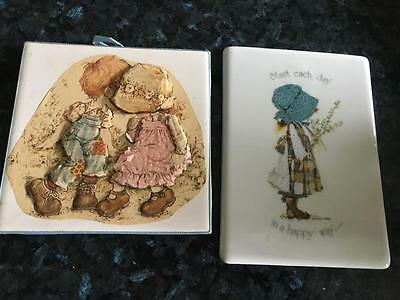 Vintage Holly Hobbie Tiles (2) -  Gorgeous - Buy Now -  Collectable