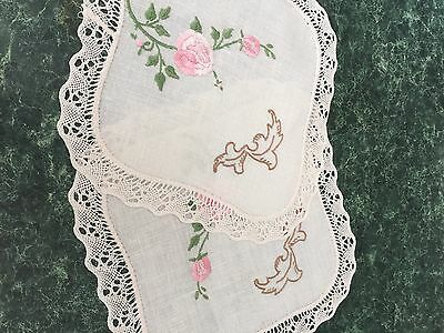 2x Gorgeous Vintage linen embroidered Pink Rose Doilies !
