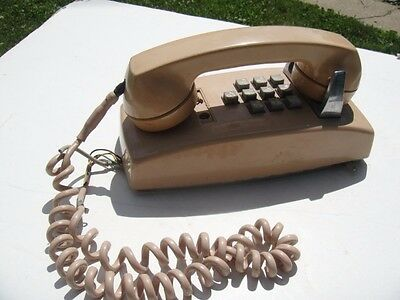 VINTAGE Western Electric TAN BEIGE Push 10 TEN Button Wall Telephone