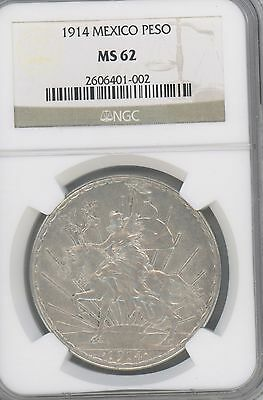 1914 Mexico Peso KM# 453----Caballito.----NGC MS62 SCARCE in HIGH GRADE