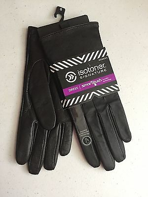 (NWT) Women's Brown Isotoner Signature Leather SmarTouch Dress Glove Size 8.0