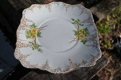 Vintage Royal Standard cake plate / square w/ scalloped edge