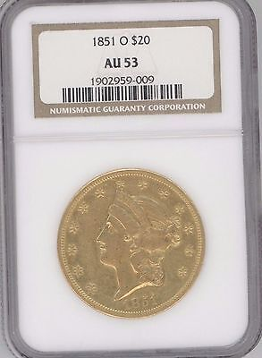 1851-O Liberty Head $20 Gold Double Eagle Graded Au53  By Ngc