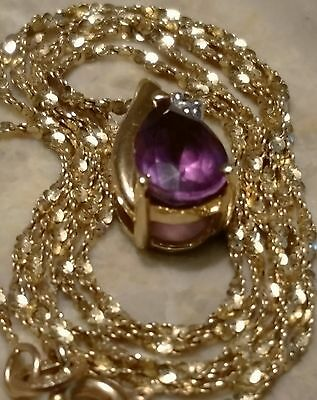 "14K Solid Yellow Gold Natural Amethyst & Diamond Pendant Necklace 20"" Long"