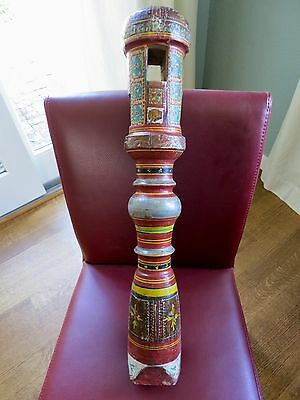 Antique Indian Charpoy Bed Legs- Hand Painted Hardwood- Fine Decorator Items!!
