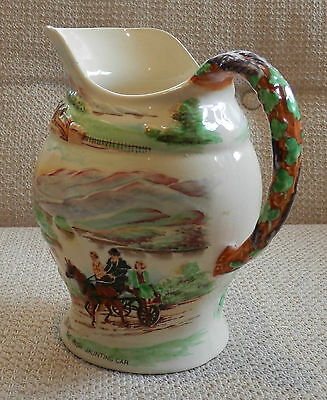 "Crown Devon Fieldings Musical Jug Large ""The Irish Jaunting Car"" KILARNEY damage"