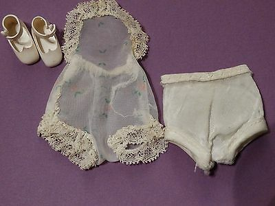 """Vintage Betsy McCall 8"""" doll's Chemise + White Undies + Pair of White Shoes"""