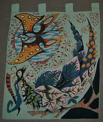 VINTAGE 1970's WOOL WEAVE TAPESTRY WALL HANGING Phoenix? abstract design 76x66cm