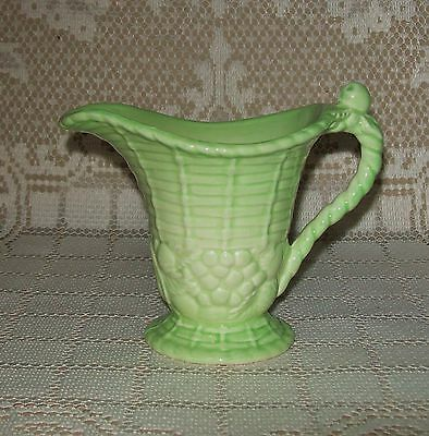 SMALL VINTAGE CARLTON WARE GREEN JUG (basket/fruit design) England 9.5cm *chip*
