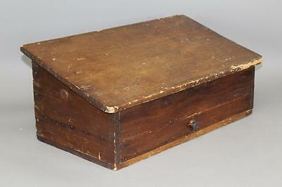 Rare 18Th C New England Slant Lid Desk Box With Drawer In Grungy Old Surface