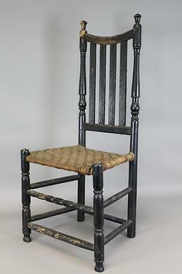A Great 18Th Ct Bannister Back Chair With Four Reeded Slats In Old Black Paint