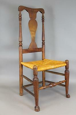 Early 18Th C Hudson Valley Ny Qa Chair Trumpet Turned Legs And Bold Pad Feet