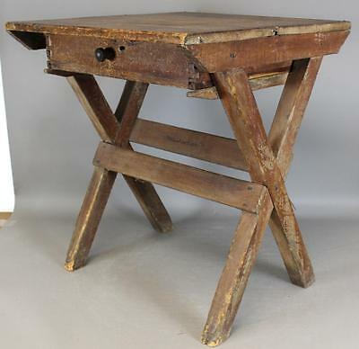 A Very Rare Pilgrim 17Th C Hudson Valley Sawbuck Tavern Table Grungy Old Surface