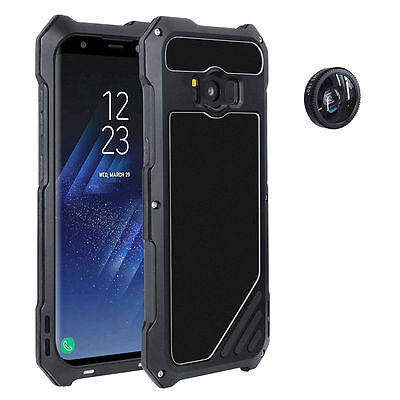 For Samsung Galaxy S8 &Plus 3IN1 Metal Case Wide Angle Macro Fisheye Camera Lens