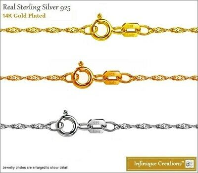 Italian Sterling Silver 1.3mm TWISTED SINGAPORE CHAIN Necklace 14k Gold Plated