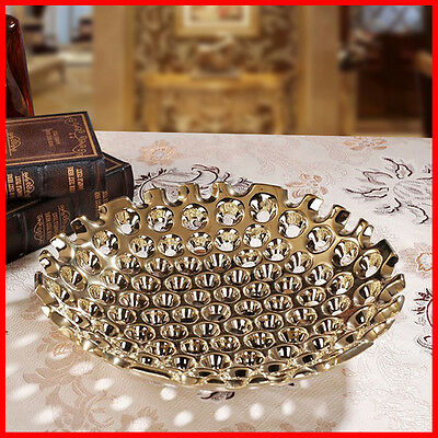 Ceramic Modern Silver Gold fruit serving decorative bowl dessert bowls plate J31