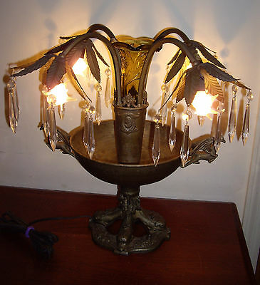 Antique Gothic Funeral Parlor Table Lamp With Amber Glass Vase and Crystals