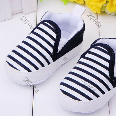 Toddler Baby Girl Boy Stripe Anti-Slip Shoes Soft Sole Crib Shoes Sneakers 3-12M