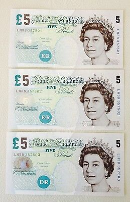Bank Of England Uk £5 Pound 3 X Consequitive Notes 2012 Salmon Lh Prefix - Unc