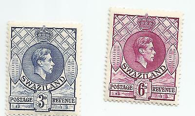 SWAZILAND ; K.GEORGE VI  Definitives  3d and 6d lightly mounted mint p 13.5x14