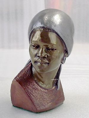 """C,.darare, Shona,  55."""" Copper/bronze/pewter African Woman Bust #13/400 Signed"""