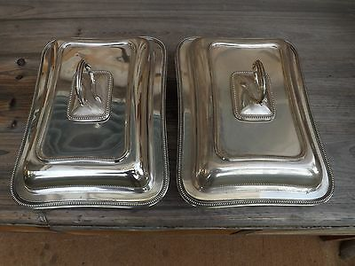 """Pair of Antique William Hutton & Sons 1900s Silver Entree Dishes England 11"""""""
