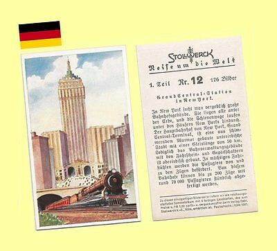 1934 Stollwerck Chocolates German Trading Card - NY Grand Central Station MINT