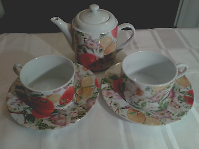 Pretty 'tea For Two'  Tea Set For Fruit/herbal Teas - With Matching Gift Box