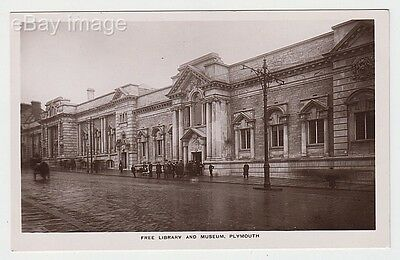Plymouth - people outside Free Library & Museum (W.B.P.) RP postcard Devon