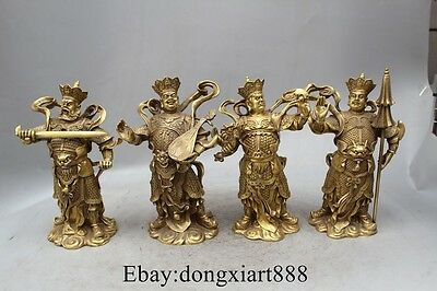 "10"" China Brass Buddhism Four Heavenly Kings God warrior Buddha statue Set"