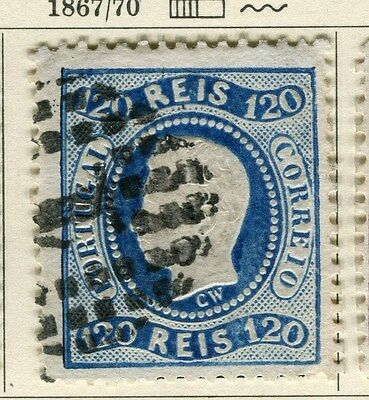 PORTUGAL;  1867 early classic Luis issue fine used 120r. value