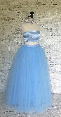 Pale blue Soft tulle Floor long net puffy maxi fully lined layer skirt wedding