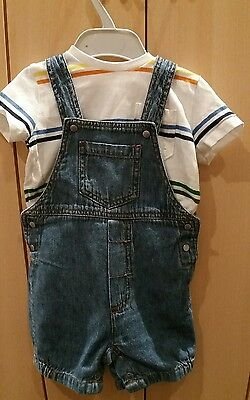 Polarn O Pyret Boys Denim Summer Dungarees & T-Shirt Bundle Size 68, 4-6 Months