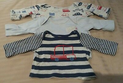 Baby boys long sleeved car tops bundle 0-3 months