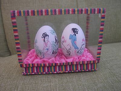 Vintage Japanese hand painted eggs in presentation box.