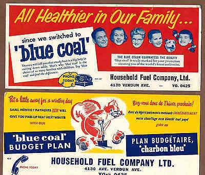BLUE COAL, HOUSEHOLD FINANCE, QUEBEC: Group of 5 Scarce Ink Blotters (1950)