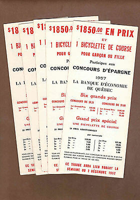 CYCLING GRAND PRIX, ECONOMIC BANK: 5 Scarce CANADIAN Ink Blotters (1957)