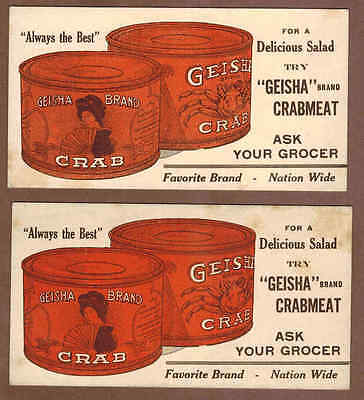 GEISHA BRAND CRABMEAT: Group of 2 Scarce Ink Blotters (1930)