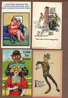 HUMOR, HUMOUR, COMIC: Collection of 8 Scarce Antique Postcards (1903)