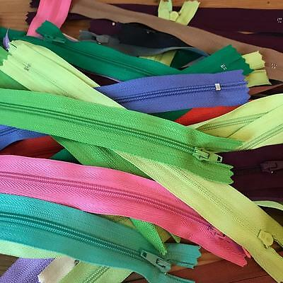 "50 x 8"" Closed End Zips Zip fabric craft fashion job lot assorted colours"