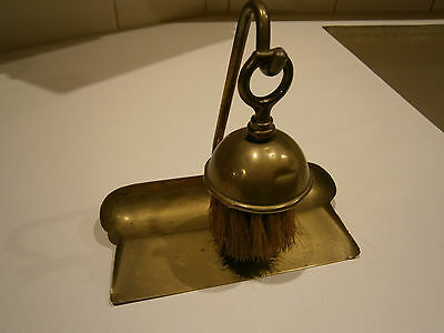 Antique Butlers Brass Crumb Brush And Tray