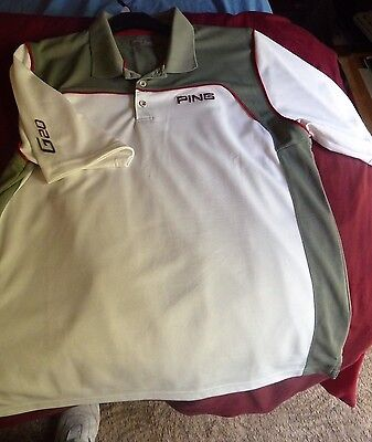 Ping Golf Polo Shirt XL G20  White and Grey