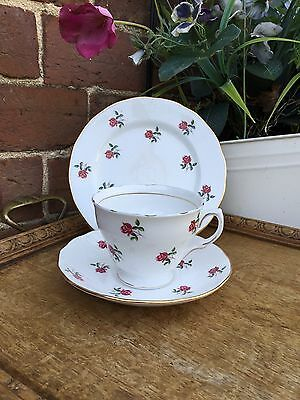 Vintage Colclough Fragrance Pink Rose Bud Teacup Saucer Side plate Trio Wedding