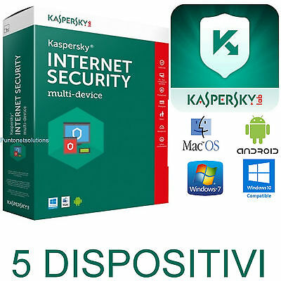 Kaspersky Internet Security MultiDevice 2017 * 1ANNO - 5PC o  5 Dispositivi vari