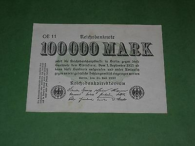 GERMANY 100000 MARK 1923 BANKNOTE UNCIRCULATED P-91a