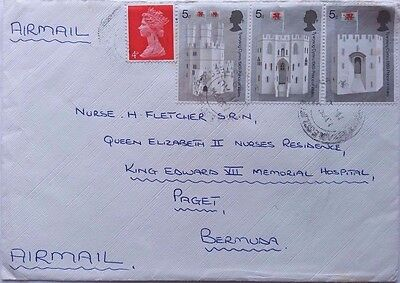 Great Britain 1969 Cover Sent Airmail To Bermuda With 3 X Investiture Stamps