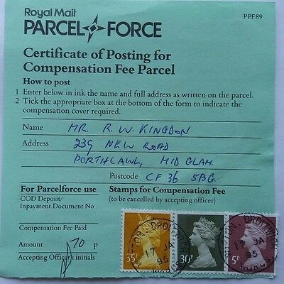 Great Britain 1995 Royal Mail Parcel Force Form With Witton Droitwich Postmark