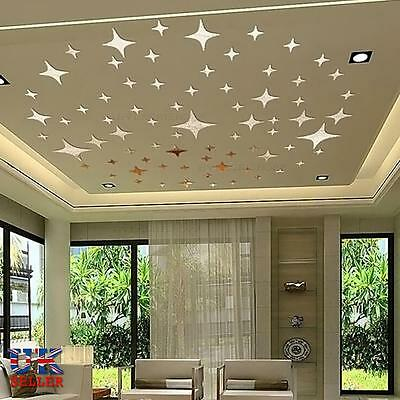 43pcs Stars Sky 3D Mirror Sticker Wall Room Removable Decal Decor Art Mural DIY