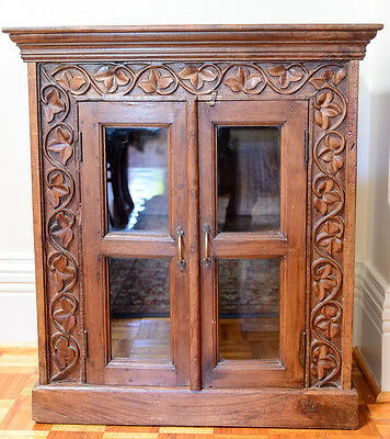 Antique Style Cabinet/Bookcase, with beautiful carved frame in Teak Timber